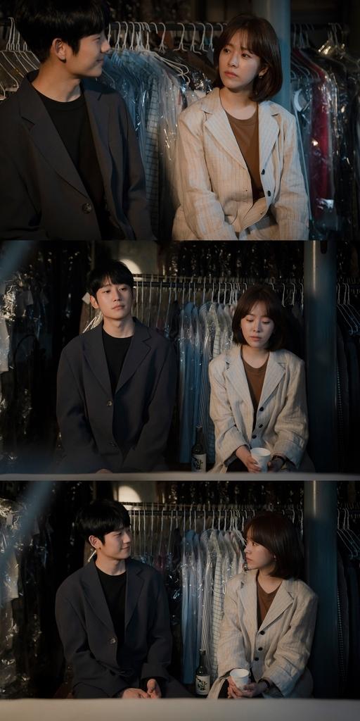 [TV알리미] '봄밤' 한지민♥정해인, 늦은 밤 세탁소에서 벌어진 '취중진담'