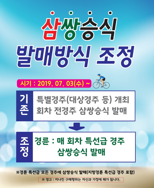삼쌍승식 내달 3일부터 발매·대진 방식 변경